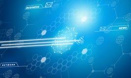 Abstrakter blauer Hintergrund mit verschiedenen Symbolen Lizenzfreies Stockfoto