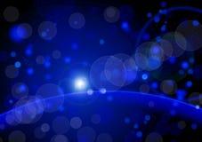 Abstrakter blauer Hintergrund, schöne glänzende Lichter Lizenzfreie Stockfotografie