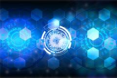 Abstrakter blauer Hintergrund Telefon mit Planetenerde und binärem Code Erfinderische Technologien Stockfoto