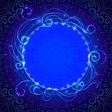Abstrakter blauer mystischer Spitzehintergrund mit Strudel Lizenzfreie Abbildung