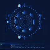 Abstrakter blauer Technologiehintergrund mit Linien und hellen Stellen Stockfoto
