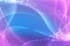 Abstrakter blauer und rosa Hintergrund mit glatten Linien und Scheinen stockbilder