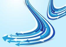Abstrakter blauer und weißer Pfeilhintergrund Stockfotografie