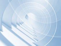 Abstrakter blauer weißer minimaler Tunnel 3d vektor abbildung