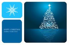 Abstrakter blauer Weihnachtsvektorhintergrund Stockbilder