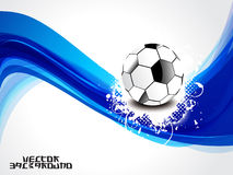 Abstrakter blauer Wellenhintergrund mit Fußball Stockbild