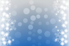 Abstrakter blauer Winterhintergrund mit Schneeflocken und Sternen Stockfotografie