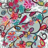 Abstrakter Blumenhintergrund mit Marienkäfer Stockbild