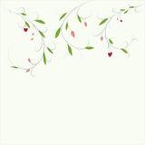 Abstrakter Blumenhintergrund mit Platz für Ihren Text Vector Niederlassung mit den grüßenden Blättern und Herzen und Einladungska Lizenzfreie Stockfotos