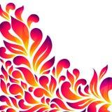 Abstrakter Blumenhintergrund mit Tropfen und Blättern Stockfoto