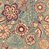Abstrakter Blumenhintergrund, nahtloses Muster des Sommerthemas, Wand Lizenzfreie Stockfotografie