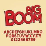 Abstrakter Boom-Knall Art Font und Zahlen Lizenzfreie Stockfotografie