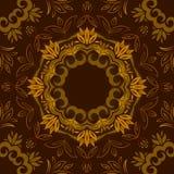 Abstrakter brauner Blumenhintergrund mit rundem Vektormuster Vektor Abbildung