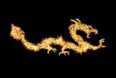 Abstrakter brennender Drache. Abbildungs-Nummer zwei auf schwarzem backgrou Stockbilder