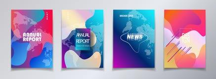 Abstrakter BroschürenAbdeckung Schablone gesetzter Jahresbericht lizenzfreie abbildung