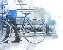 Abstrakter bunter Geschäftsmann und Fahrrad, die auf Straßenaquarellillustration geht lizenzfreies stockbild