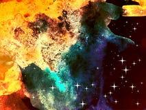 Abstrakter bunter Hintergrund Aquarellkosmos mit Sternen Lizenzfreie Stockfotografie