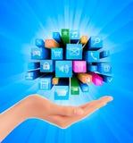 Abstrakter bunter Hintergrund mit Ikonen und der Hand. Lizenzfreies Stockfoto