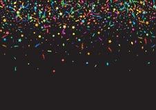 Abstrakter bunter Konfettihintergrund auf Schwarzem Vektorfeiertagsillustration Lizenzfreie Stockfotos
