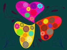Abstrakter bunter Kreisblumen-Herzhintergrund Stock Abbildung