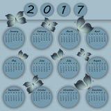 Abstrakter bunter Schmetterlingskalender des Papiers 3d 2017-jährig Lizenzfreies Stockbild