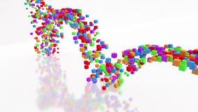 Abstrakter bunter Würfelstrom Fluss von Würfeln fällt auf Schreibtisch und springt oben Modernes Dekorationsvideo des Regenbogens lizenzfreie abbildung