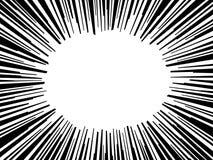 Abstrakter Comic-Buch-Blitz-Explosionsradialstrahl zeichnet Hintergrund Vektorillustration für Superhelddesign Helles Schwarzes Stockfotos