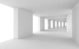 Abstrakter 3d Hintergrund, verbogener weißer Korridor Stockfotos