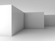 Abstrakter 3d Hintergrund, weißer leerer Rauminnenraum Stockfotos