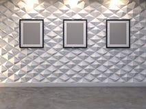 Abstrakter dekorativer Hintergrund der Wand 3d mit leerem Bilderrahmen Lizenzfreie Stockbilder