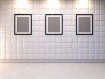 Abstrakter dekorativer Hintergrund der Wand 3d mit leerem Bilderrahmen Lizenzfreies Stockbild