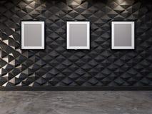 Abstrakter dekorativer Hintergrund der Wand 3d mit leerem Bilderrahmen Lizenzfreie Stockfotos