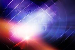 Abstrakter Digital-Weltnachrichten-Hintergrund mit Linsen-Effekt-Konzept lizenzfreie stockbilder