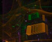Abstrakter digitaler Fractal, Kartenart-Wissenschaftsmuster futuristisch stock abbildung