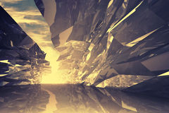 Abstrakter digitaler Hintergrund 3d Verbogener Kristallkorridor Lizenzfreie Stockfotos