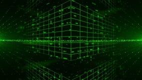 Abstrakter digitaler Hintergrund mit grünen Laser-Strahlen Helle Show HD 1080 Animation Loopable 3D stock footage