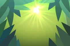 Abstrakter Dschungelhintergrund mit Sonne strahlt Vektor aus Stockfoto