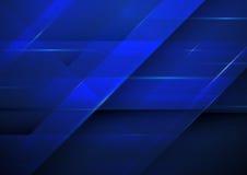 Abstrakter dunkelblauer Rechteckhintergrund Technologiekonzept-DES Stockfoto