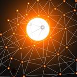 Abstrakter dunkelgrauer Hintergrund des Vektorraumes Chaotisch verbundene Punkte und Sonne Futuristische Technologieart Lizenzfreies Stockfoto
