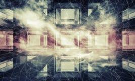 Abstrakter dunkler digitaler moderner Hintergrund der Technologie 3d Stockbilder
