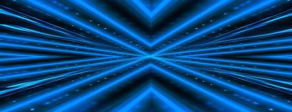Abstrakter dunkler Hintergrund mit Backsteinmauer und Neonlicht Blaue Neonstrahlen stockbilder
