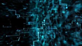 Abstrakter dunkler Hintergrundfliegendurchlauf durch digitales Partikelelement für Digitaltechnikkonzept des Cyber mit dem Korn v
