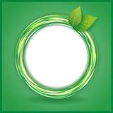 Abstrakter Eco Hintergrund mit Blättern und Kreis Stockfotografie