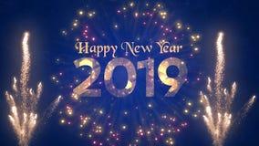 Abstrakter Entwurf von 2019 neues Jahr-Grüßen stock abbildung