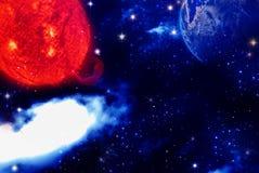 Abstrakter Erde-, Platz- und Sternhintergrund stock abbildung