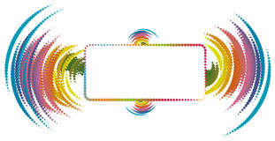 Abstrakter Exemplar-Platz mit Schallwelle-Elementen Stockbilder