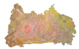 Abstrakter fantastischer Aquarellfleck mit spritzt und beschmutzt Lizenzfreie Stockfotos