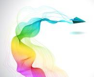 Abstrakter Farbhintergrund mit Papierflugzeug Stockfotografie