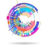 Abstrakter farbiger Hintergrund des Radialstrahls 3 D bestanden aus geometrischen Formen lizenzfreie abbildung