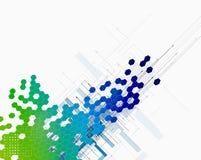 Abstrakter Farbpunkthexagoninnovations-Technologiehintergrund stock abbildung